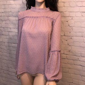High neck puff sleeve blouse